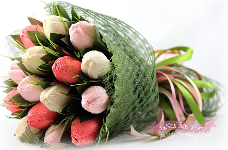 Как своими руками сделать букет из конфет тюльпаны своими руками пошаговое фото