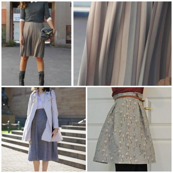 Расклешенная серая юбка с чем носить