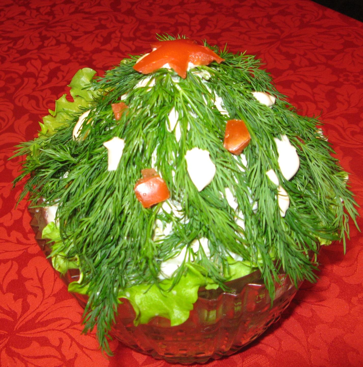 Украшения новогодних салатов фото