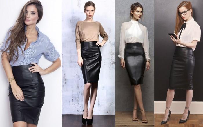 С чем носить прямую кожаную юбку
