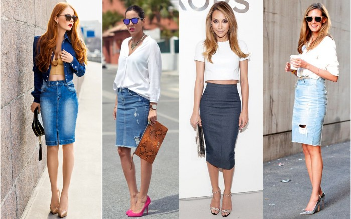 С чем носить серую джинсовую юбку