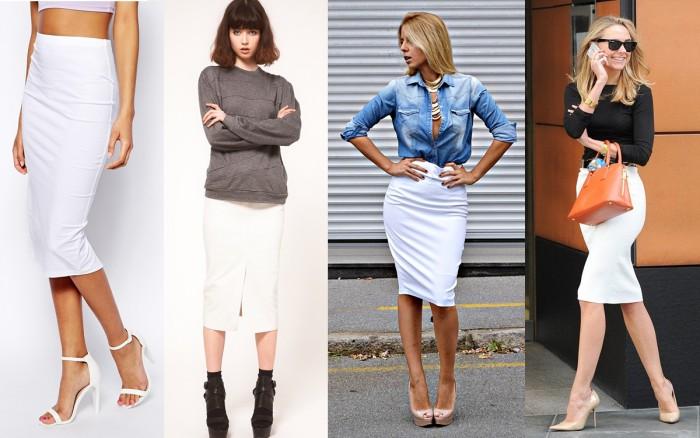 Строгая белая юбка