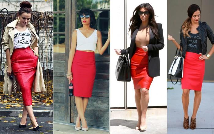 Красная высокая юбка с чем носить