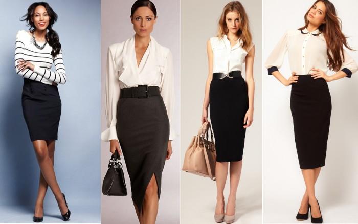 Офисная юбка с чем носить
