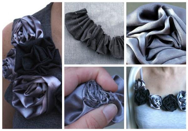 Цветы из ткани на одежде своими руками