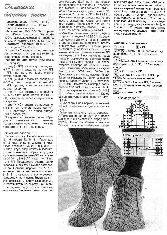 Носки вязанные спицами с описание и схемами