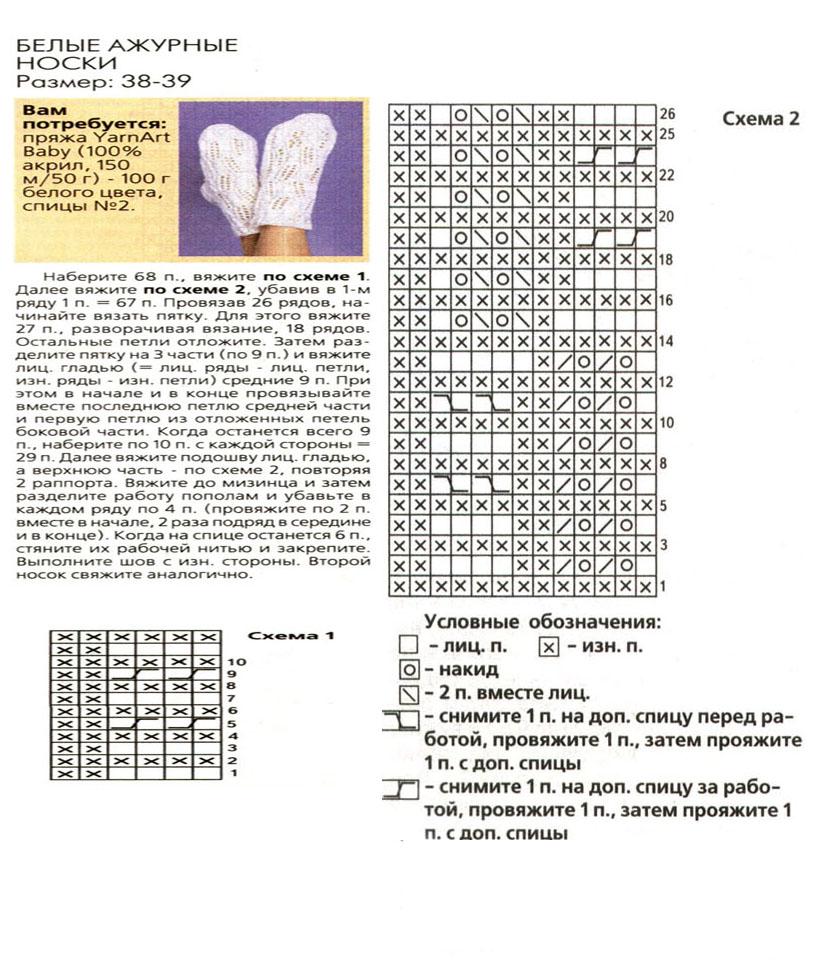 Связать носки схема вязания спицами