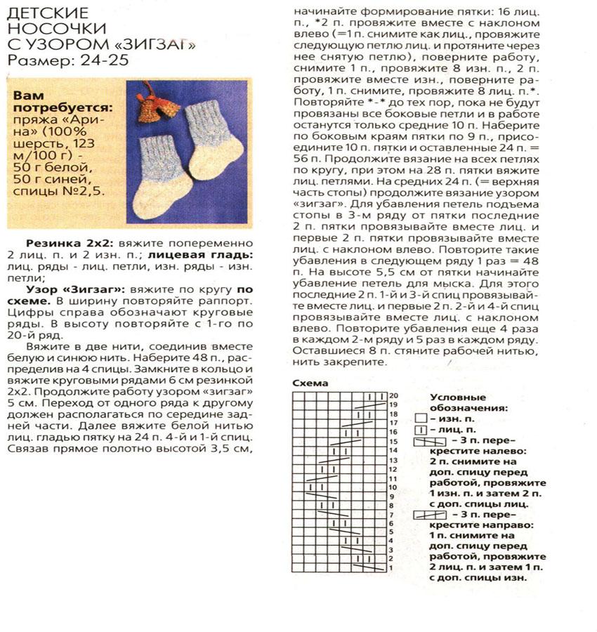 Вязание носочек спицами для детей с описанием 925
