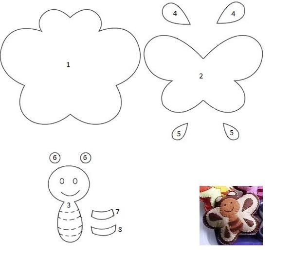 Выкройки из фетра: бабочка