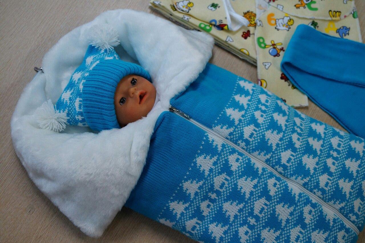 Конверты вязанные для новорожденных