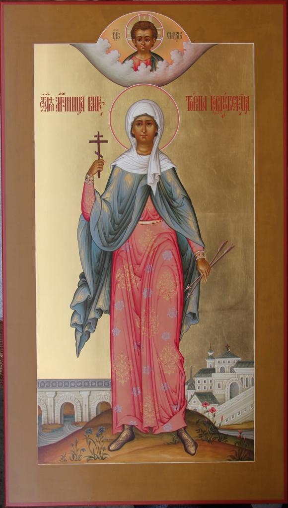 Именная мерная икона на крестины, на которой изображена святая Виктория Кордубская
