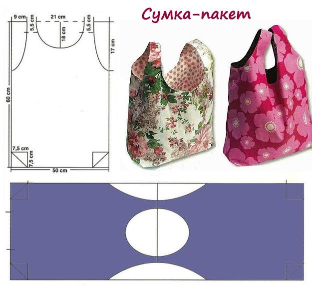 Выкройка хозяйственных сумок своими руками из ткани