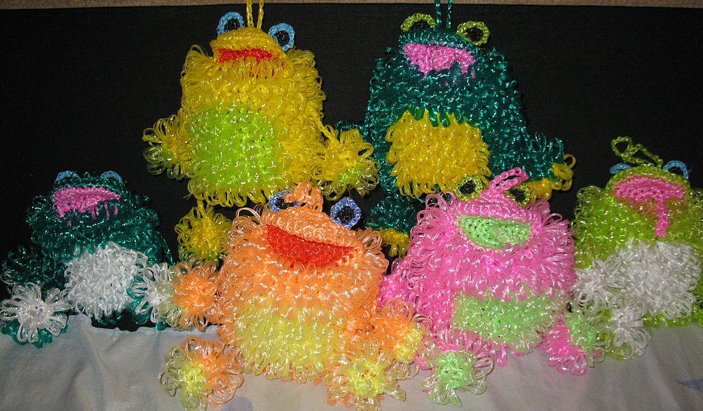 Вязание игрушек из мочалок