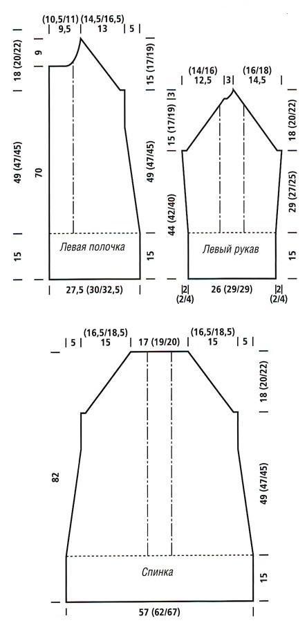 Кардиган длинный спицами - выкройка