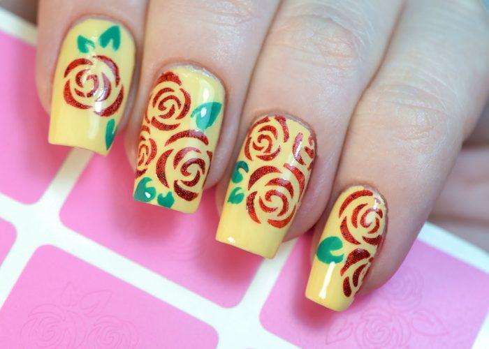 Трафаретные розы
