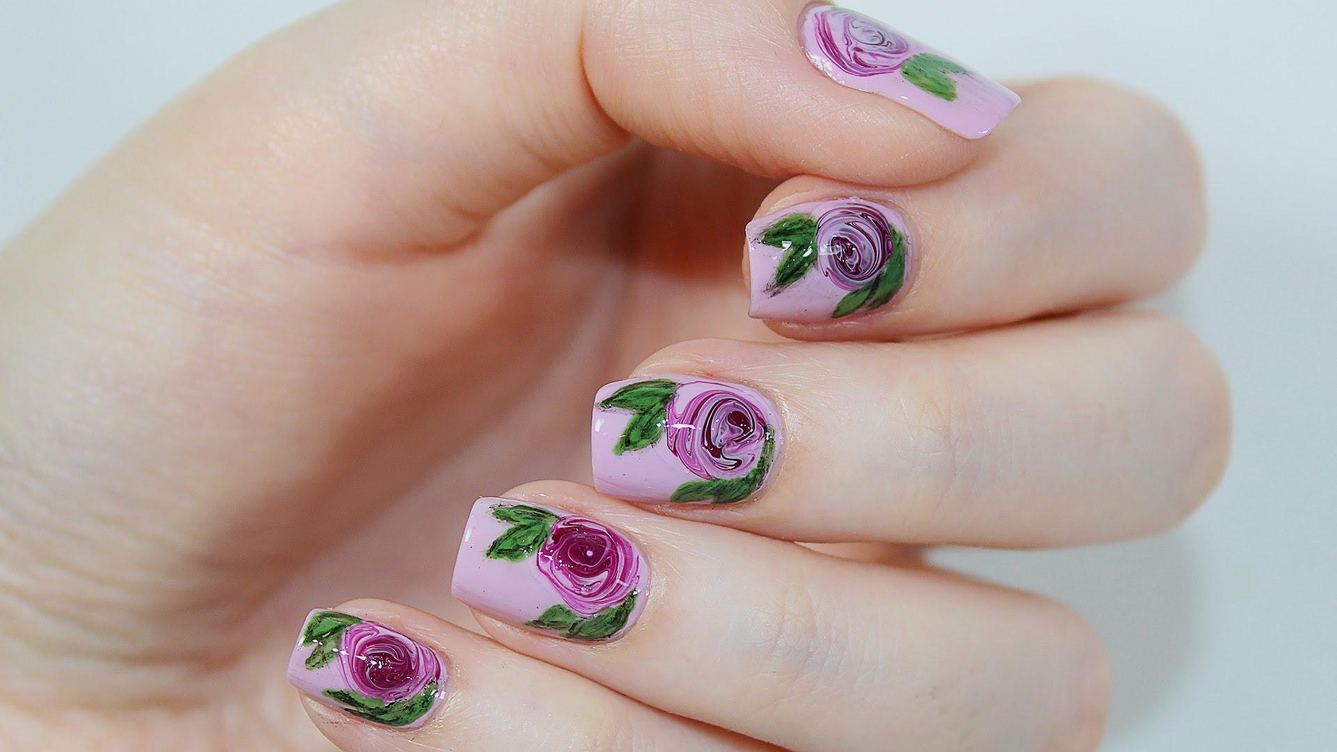 Сирень акварелью на ногтях