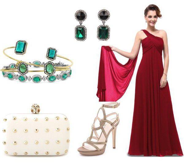 Цвет бус к красному платью