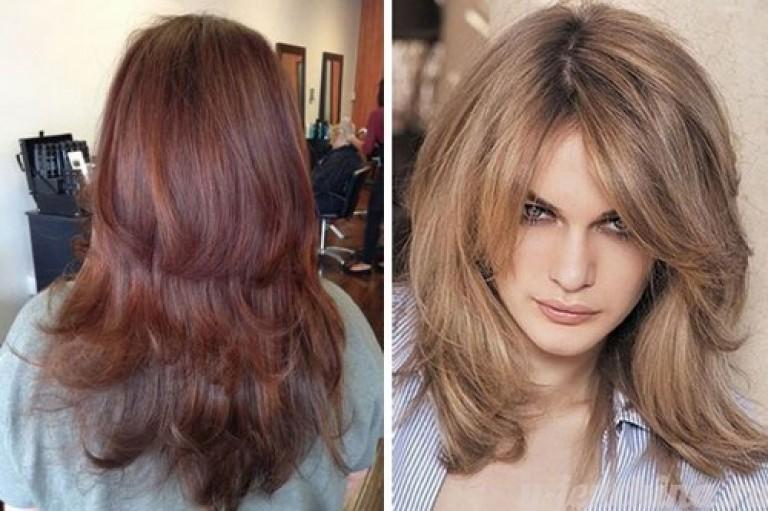 Каскад на средние волосы с челкой на бок фото 2017