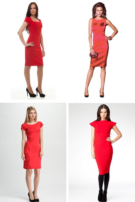 Фото красное платье ниже колена
