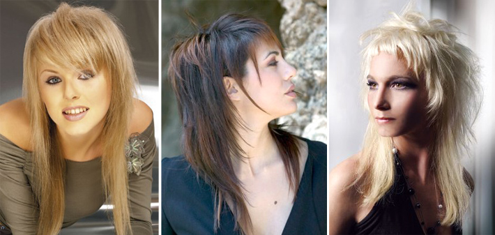 косая короткая челка с длинными волосами