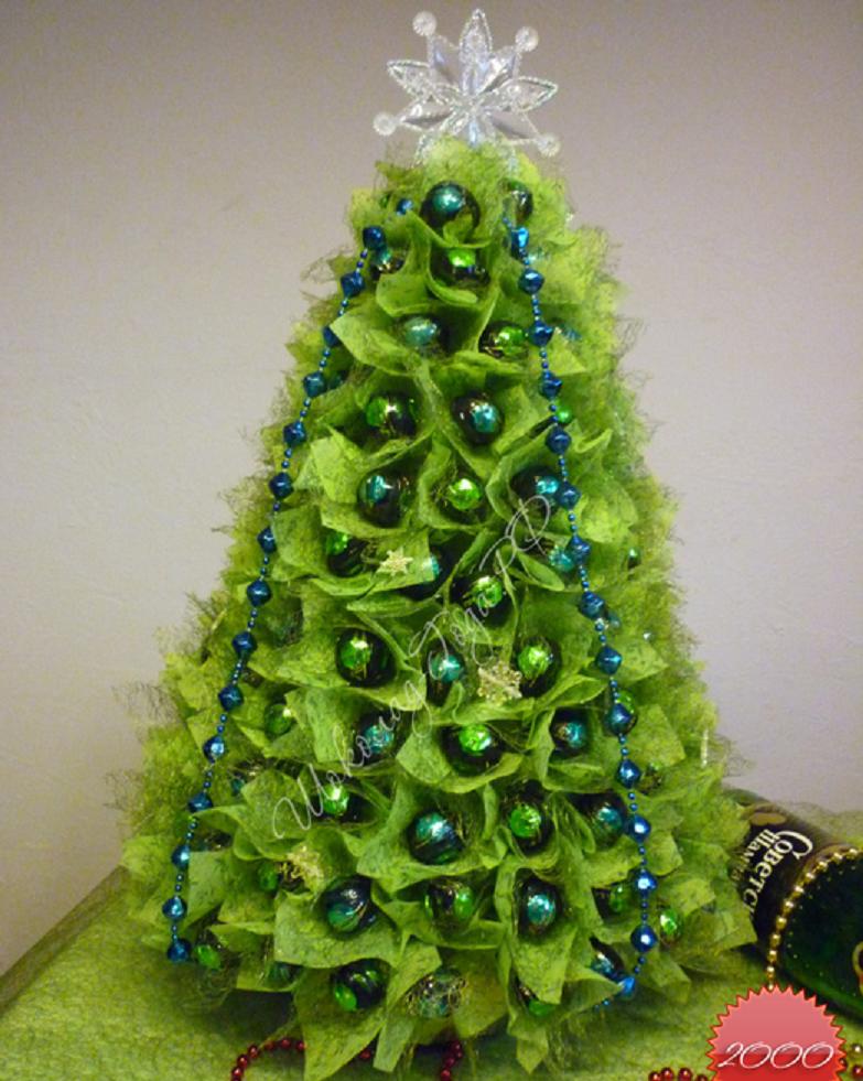 Новогодняя елка из конфет мастер класс