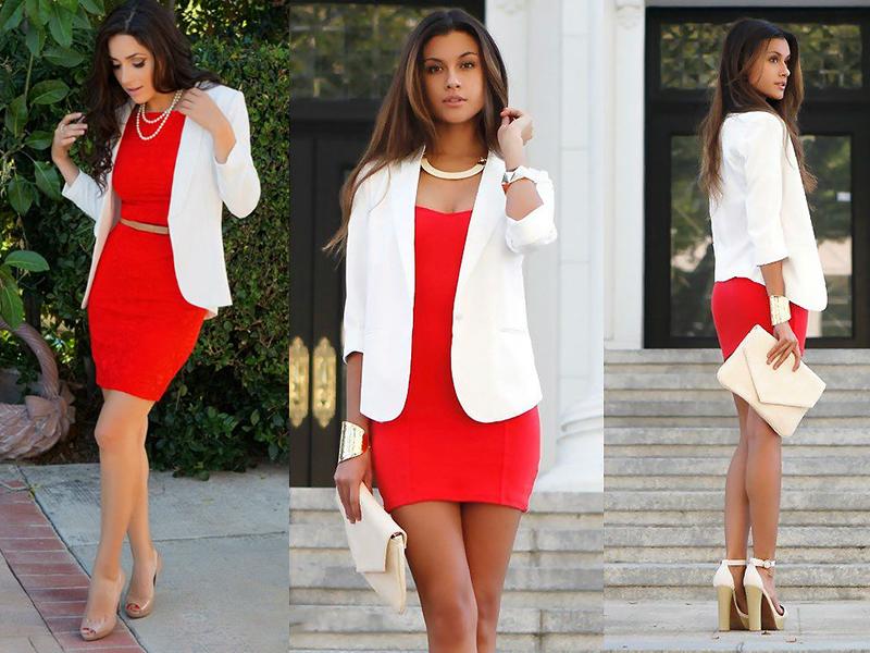 Красное платье и белые аксессуары