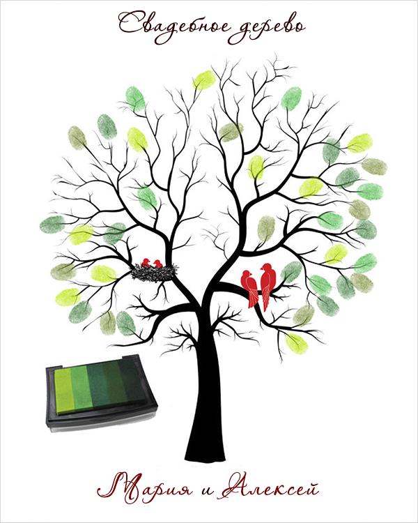 Дерево с отпечатками на свадьбу своими руками