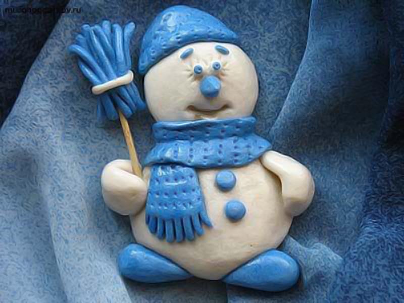 Снеговик из теста фото