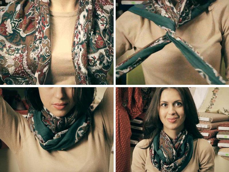 как красиво завязать квадратный платок