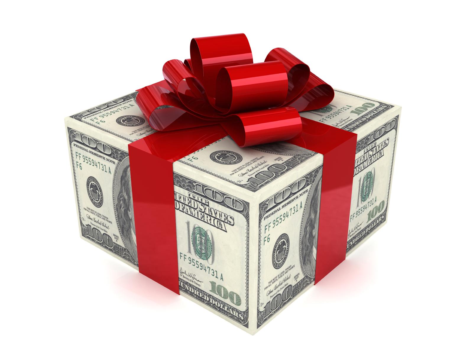 Слова к подарку доллары в