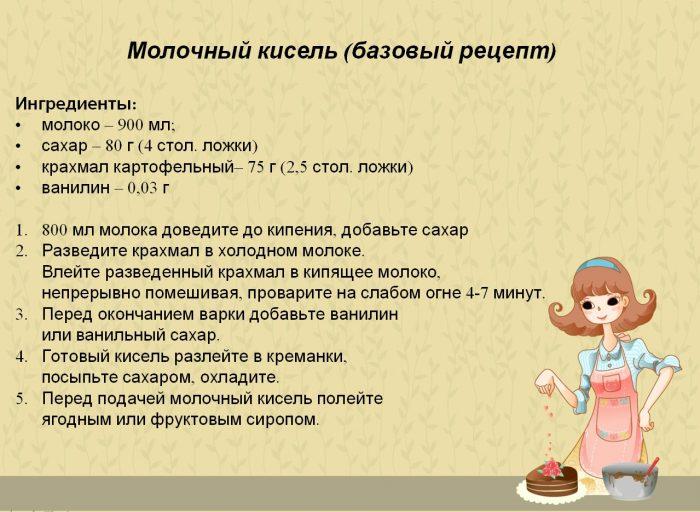 Молочный кисель: базовый рецепт
