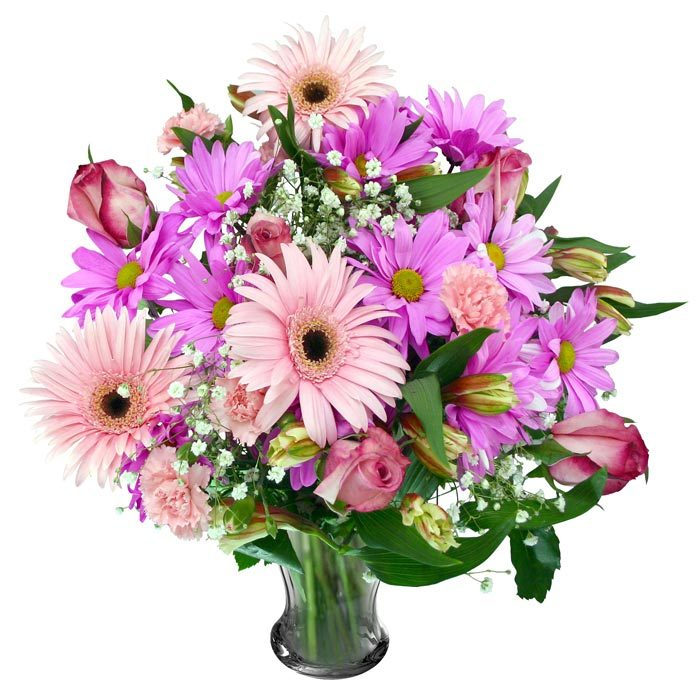 Букет из розовых гербер и роз — 10