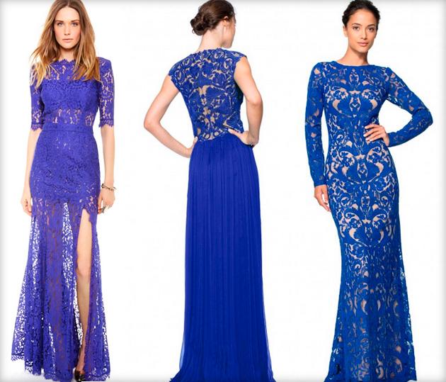 Синее длинное платье на свадьбу