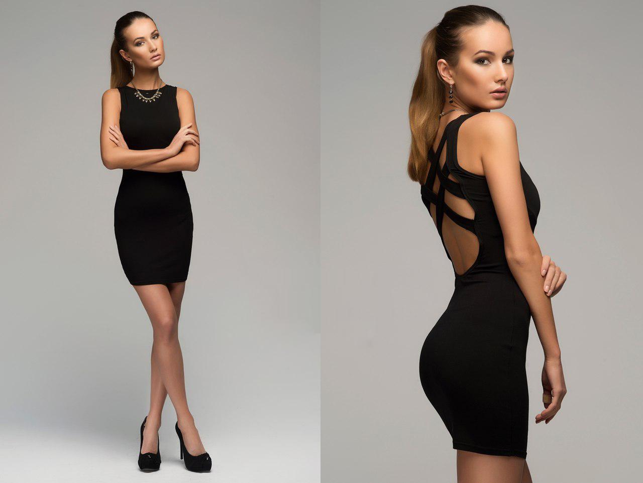 Вечернее короткое черное платье