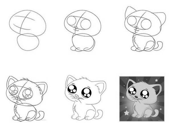 Как нарисовать котенка с милыми глазами
