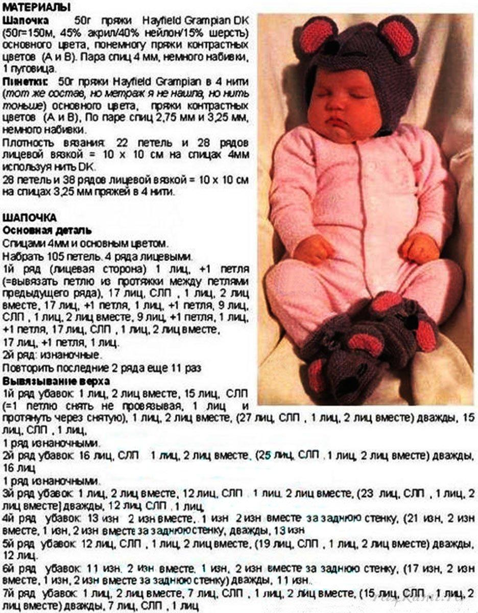 Вязать для новорожденных спицами шапочки для