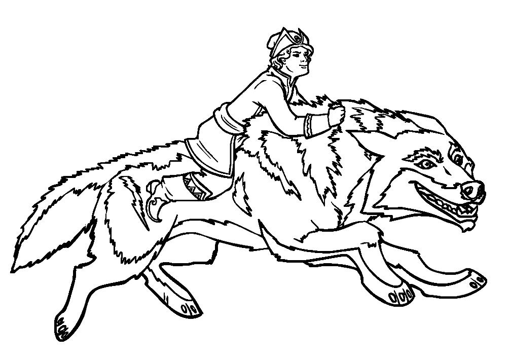 Раскраски сказке иван царевич и серый волк