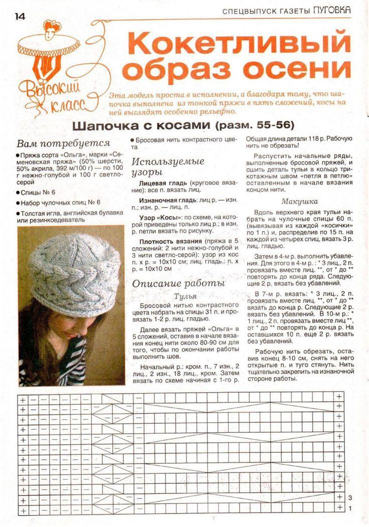Вязание шапок схемы осинка