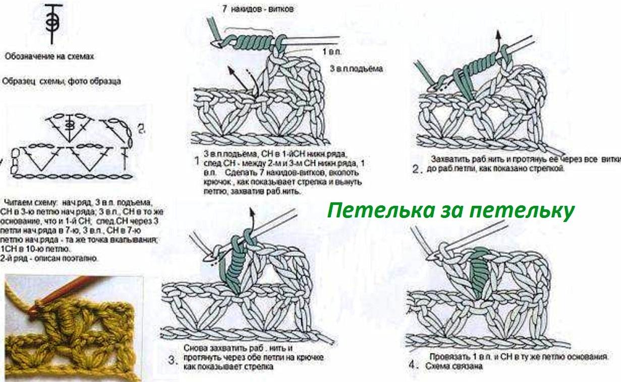 Петельки вязание со схемами 64