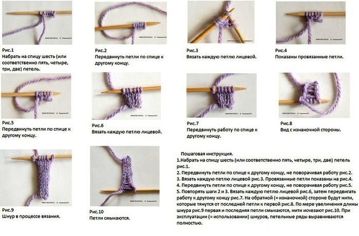 Как вязать спицами полый шнур
