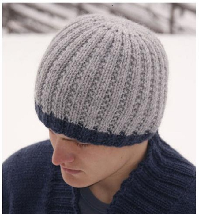 Как вязать шапку мужскую спицами