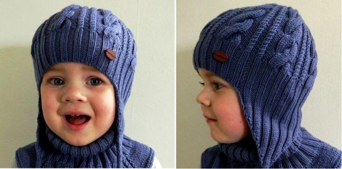 Шапка с ушками для мальчика спицами схема