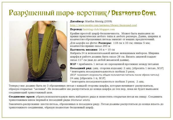 Схема вязания спицами шарф-воротник
