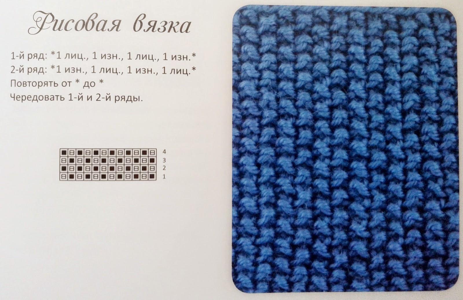 Вязание рисунок рис схема вязания