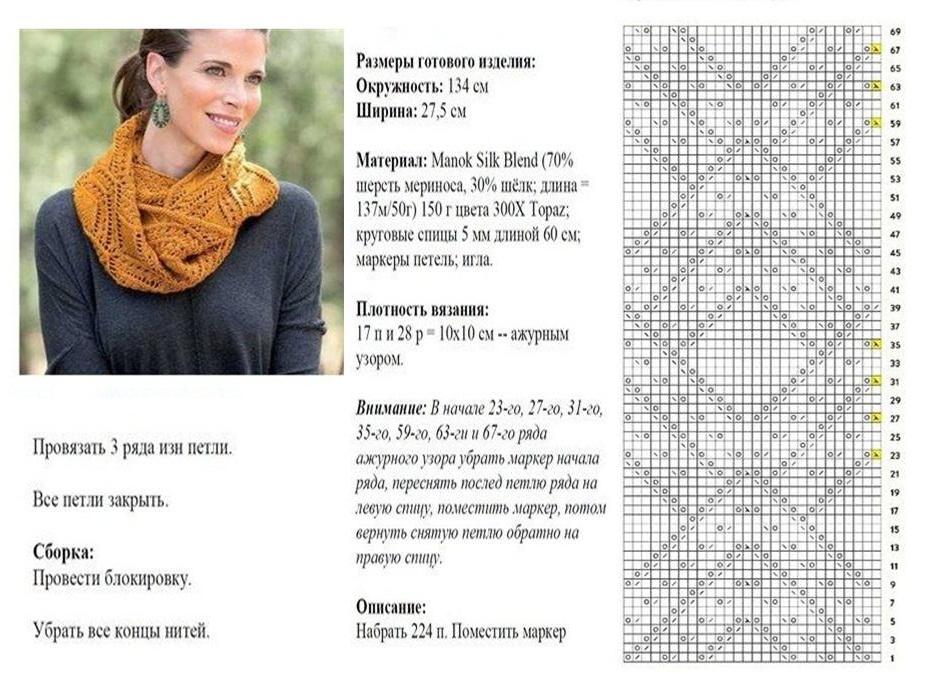 Вязание спицами для женщин с описанием шарф-снуд спицами