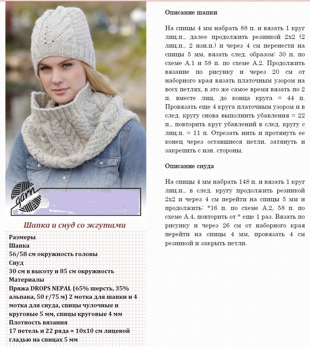 Вязание спицами шапки и снуды схемы для женщин
