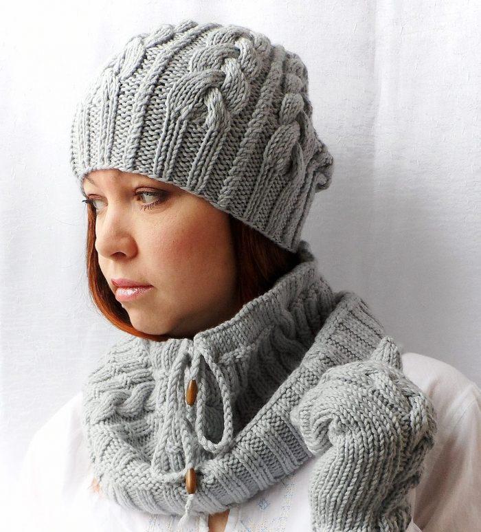 шапка спицами для девочки подростка схема