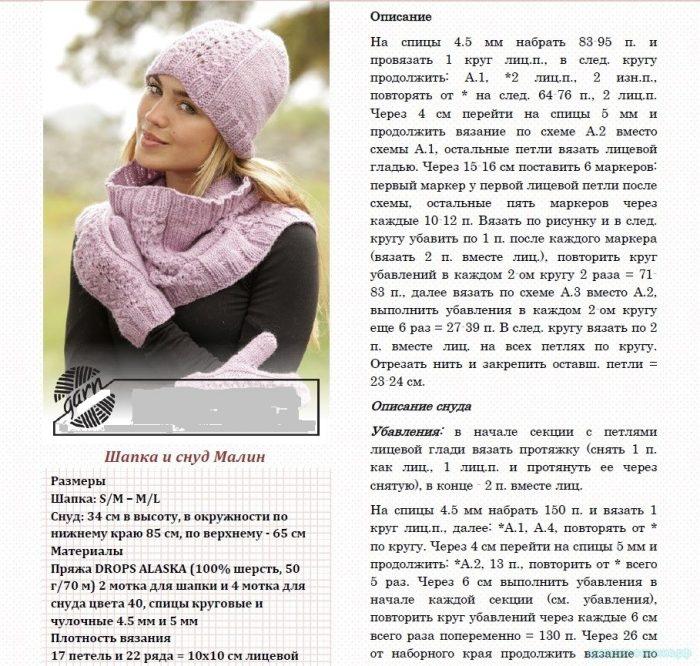 Схемы вязания шапок и снудов спицами