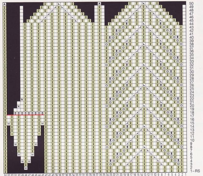 Вязание варежек с косой схемы 937