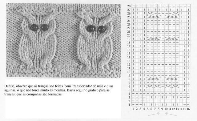 Как связать рисунок совы на спицах